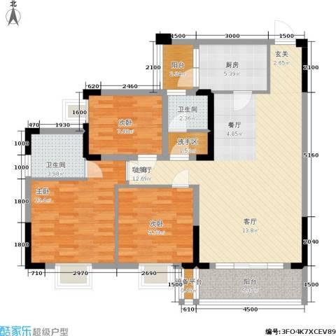 龙隐花苑3室1厅2卫1厨91.00㎡户型图