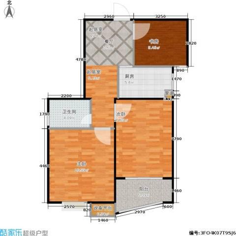 福星新城3室0厅1卫1厨77.00㎡户型图