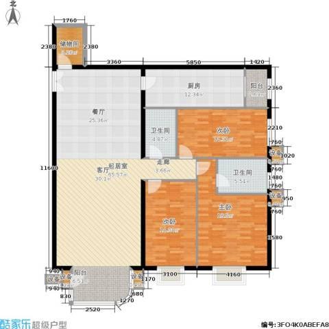 广信嘉园3室0厅2卫1厨161.00㎡户型图