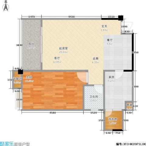 幸福雅舍1室0厅1卫1厨55.00㎡户型图