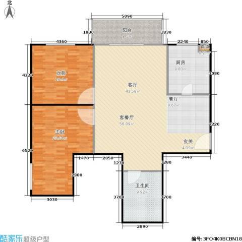 富瑞苑公寓2室1厅1卫1厨134.00㎡户型图