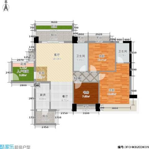 花城广场3室1厅2卫1厨146.00㎡户型图