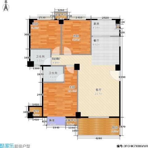 香港公馆3室1厅2卫1厨121.00㎡户型图