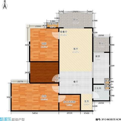 兰天龙湖苑3室1厅1卫1厨140.00㎡户型图