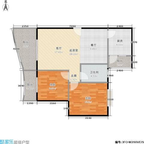枫桥水郡2室0厅1卫1厨80.00㎡户型图