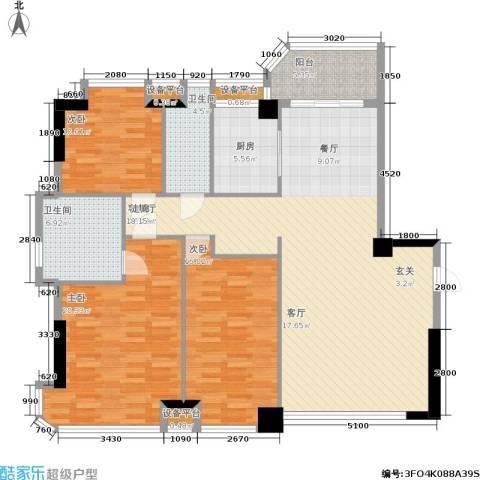 世纪广场3室1厅2卫1厨166.00㎡户型图