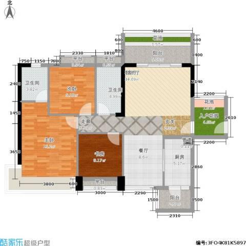 花城广场3室1厅2卫1厨139.00㎡户型图