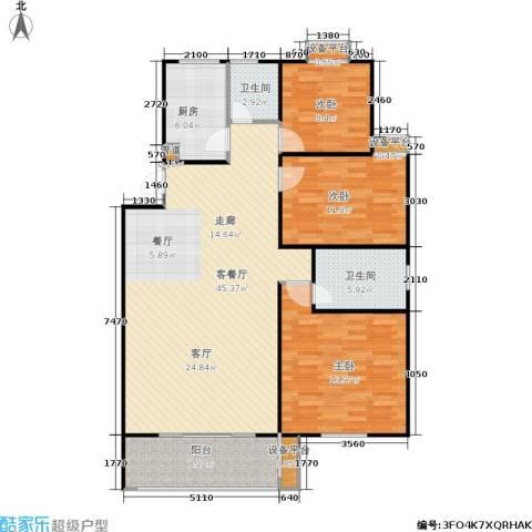 金达家园3室1厅2卫1厨107.75㎡户型图