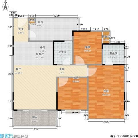 凤天竹园3室1厅2卫1厨100.05㎡户型图