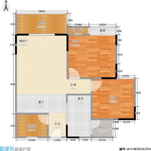 渝江丽都2室1厅1卫1厨85.00㎡户型图