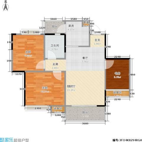 筑梦庭3室1厅1卫1厨72.00㎡户型图