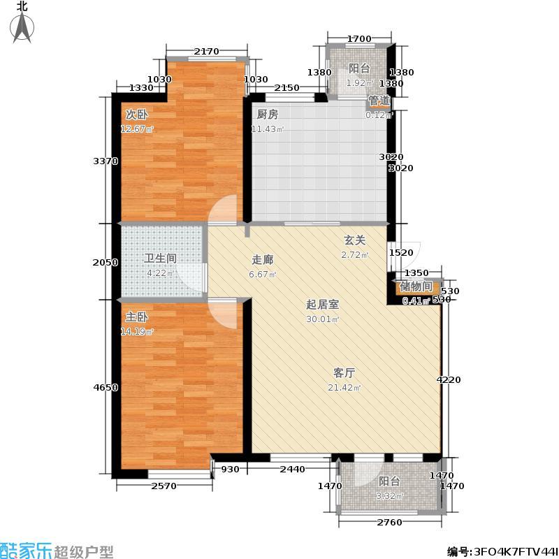 香格里拉95.00㎡二房二厅一卫户型2室2厅1卫