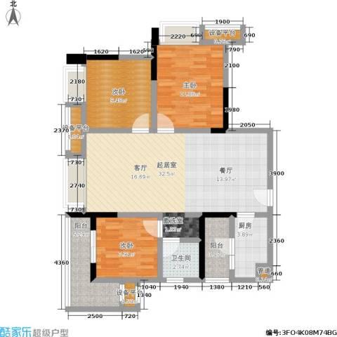 盛世明珠3室0厅1卫1厨85.00㎡户型图