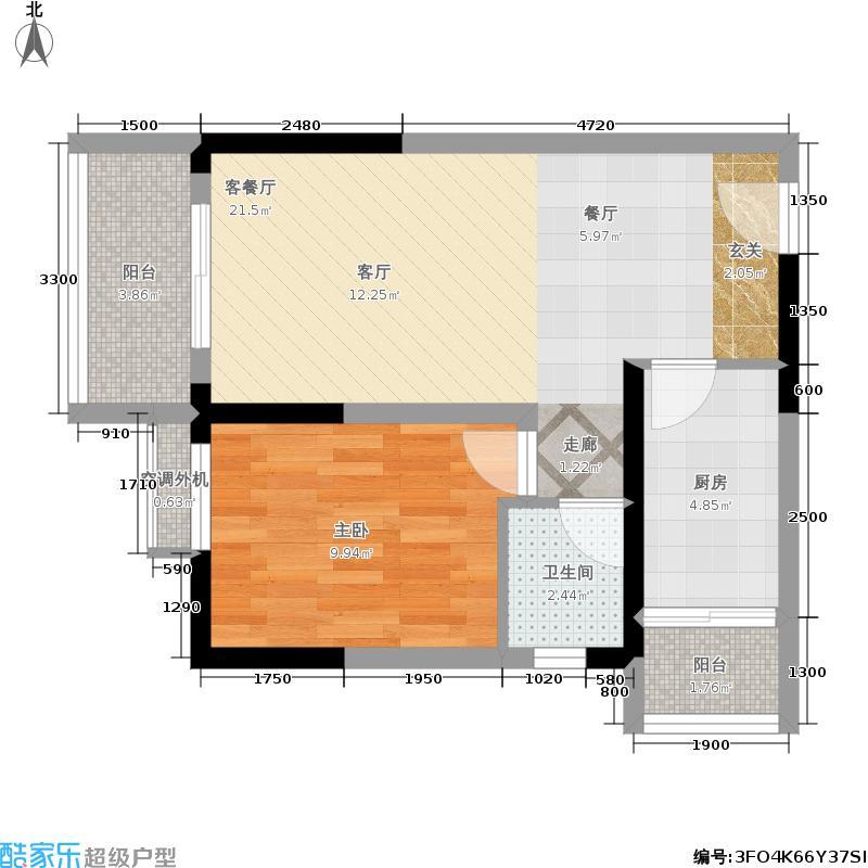 鹭岭尚品59.02㎡鹭岭尚品户型图D户型是一室一厅一卫(1/2张)户型1室1厅1卫