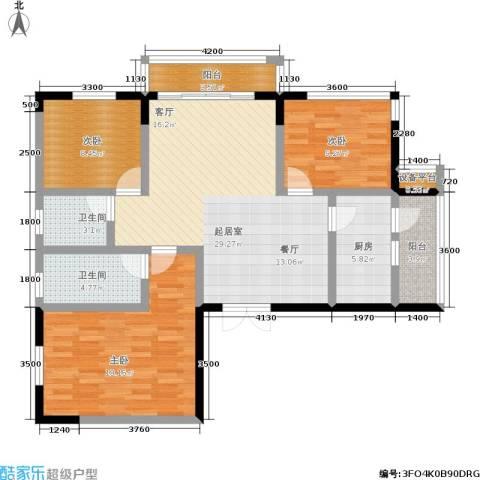 鼎泰国际3室0厅2卫1厨89.00㎡户型图