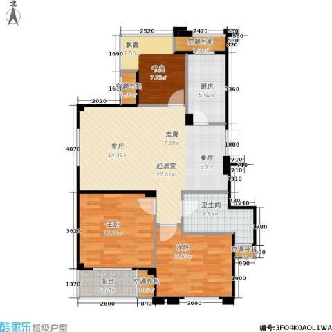 荣安琴湾3室0厅1卫1厨105.00㎡户型图