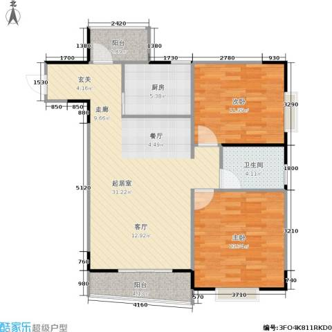 大川花园2室0厅1卫1厨75.00㎡户型图