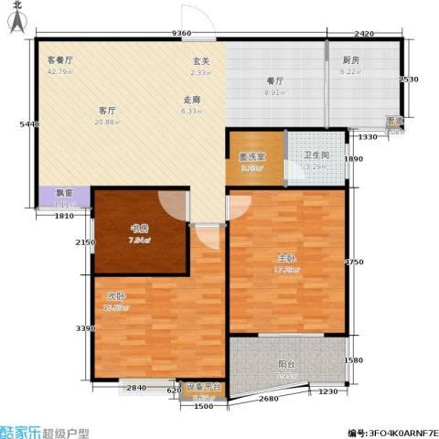 福星新城3室1厅1卫1厨107.00㎡户型图
