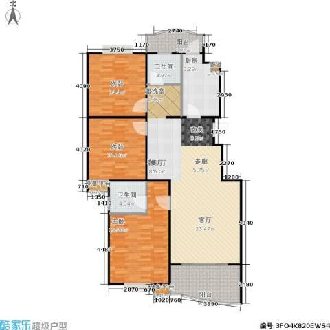 怡景万家3室1厅2卫1厨134.00㎡户型图