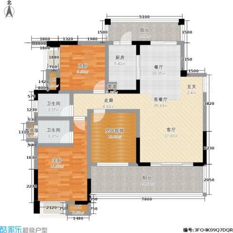 丽水菁苑栖景湾2室1厅2卫1厨151.00㎡户型图