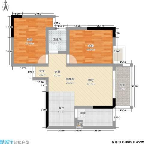 宏声新座2室1厅1卫1厨87.00㎡户型图