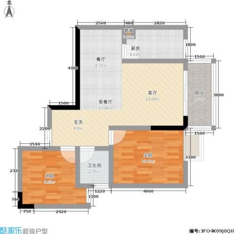 宏声新座2室1厅1卫1厨85.00㎡户型图