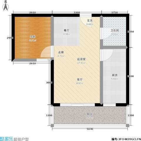 会山康城1室0厅1卫1厨56.00㎡户型图