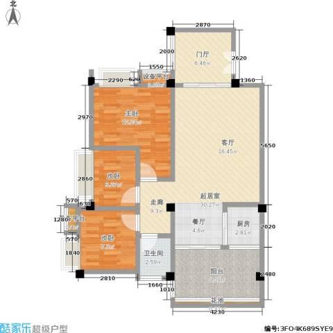 东部明珠雅苑3室0厅1卫1厨80.00㎡户型图