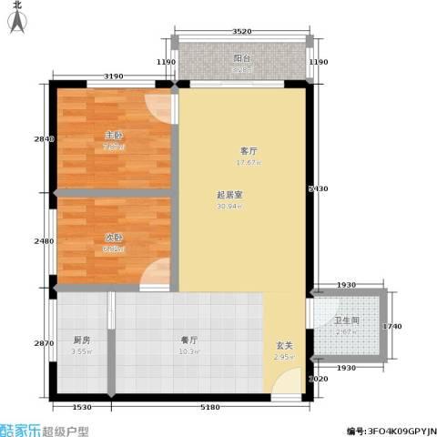 新天地公寓2室0厅1卫1厨62.00㎡户型图