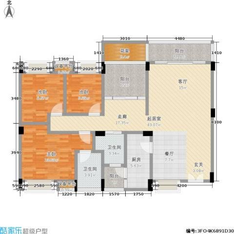 东部明珠雅苑3室0厅2卫1厨110.00㎡户型图