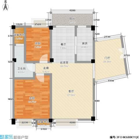 东部明珠雅苑2室0厅1卫1厨80.00㎡户型图