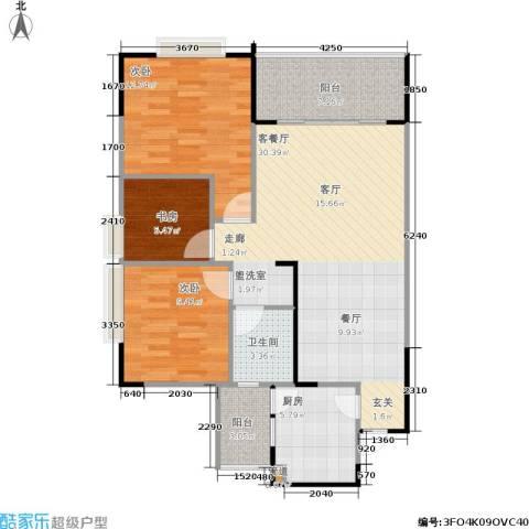 银海北极星3室1厅1卫1厨77.44㎡户型图