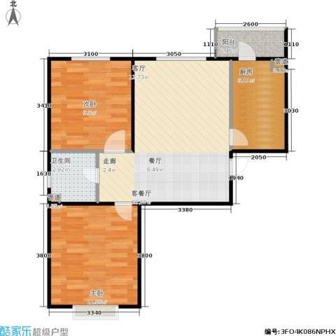 君悦美景2室1厅1卫1厨84.00㎡户型图