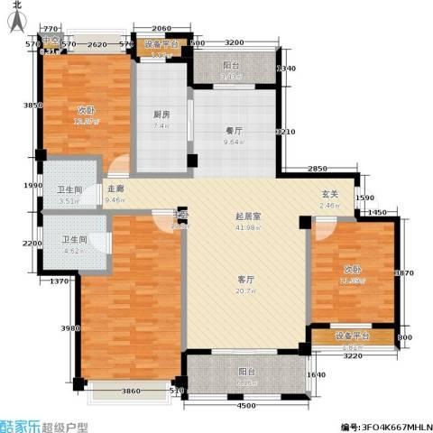 城市空间3室0厅2卫1厨129.00㎡户型图