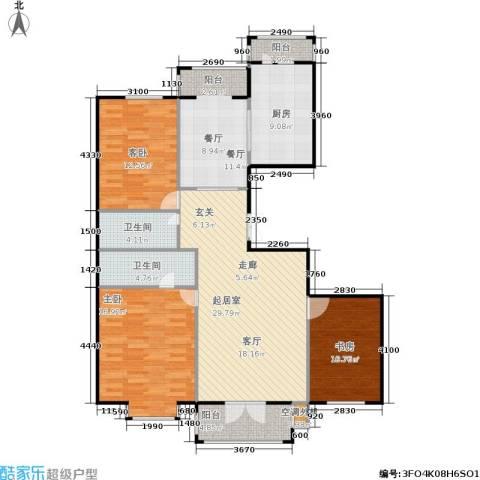 蓝天荣府3室1厅2卫1厨115.00㎡户型图