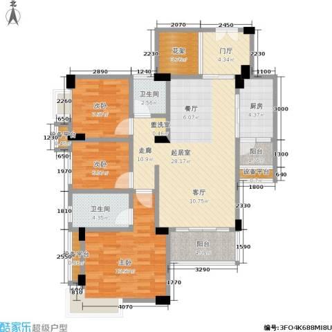 东部明珠雅苑3室0厅2卫1厨83.04㎡户型图