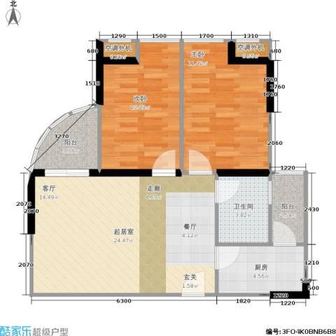大川建博中心2室0厅1卫1厨86.00㎡户型图