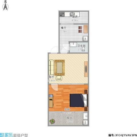 佛山苑1室2厅1卫1厨70.00㎡户型图