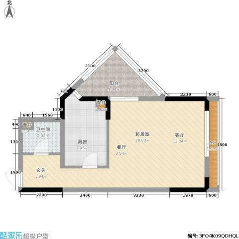 新重庆公寓1卫1厨50.00㎡户型图