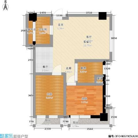金州福佳新天地广场2室1厅1卫1厨81.00㎡户型图