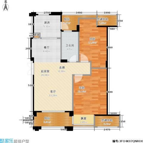 荣安琴湾2室0厅1卫1厨88.00㎡户型图