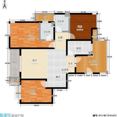 阳光美地3室0厅2卫1厨118.00㎡户型图
