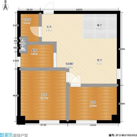 金州福佳新天地广场2室1厅1卫1厨87.00㎡户型图
