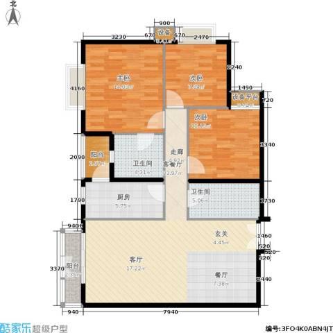 陶然居3室1厅2卫1厨118.00㎡户型图