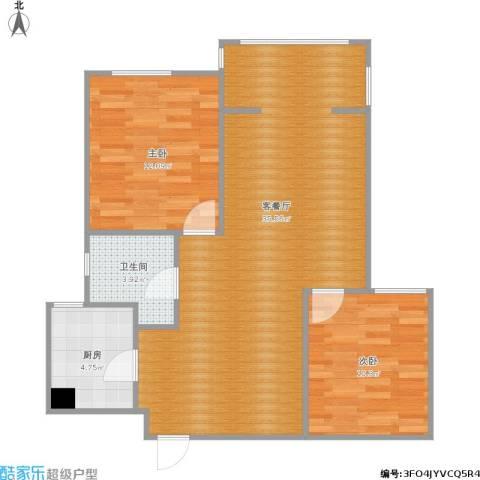 统建天成美雅2室1厅1卫1厨90.00㎡户型图