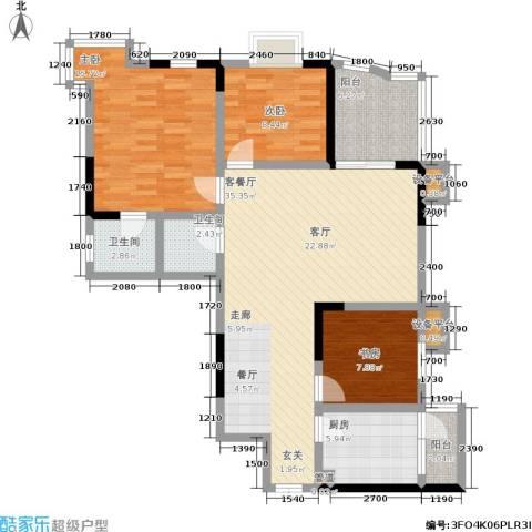 金桥彼岸3室1厅2卫1厨93.00㎡户型图