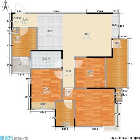 巨成龙湾3室1厅2卫1厨127.00㎡户型图