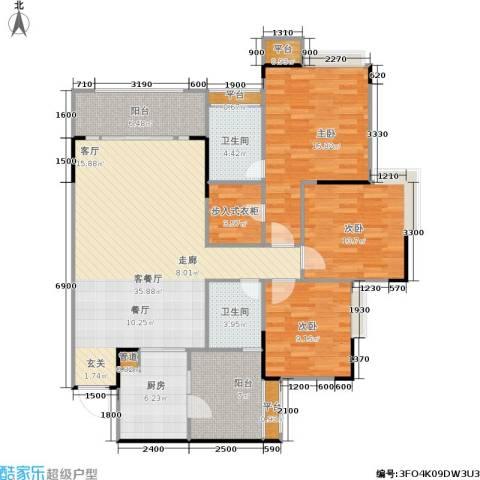 园丁梦苑3室1厅2卫1厨106.07㎡户型图