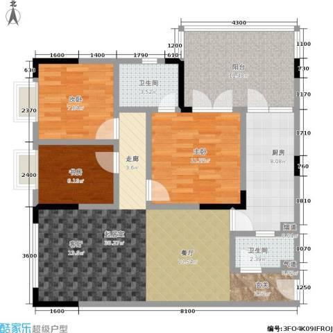 轻轨上城3室0厅2卫1厨116.00㎡户型图