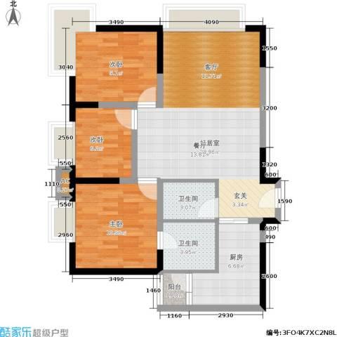 金都会都峰3室0厅2卫1厨86.00㎡户型图